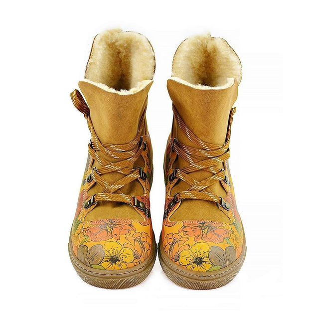Colorful Flowers Short Furry Boots AGAN100 - Goby ALASKA Short Furry Boots
