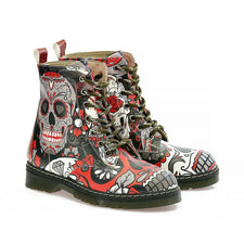 Rose Eyes Skull Long Boots AMAR108