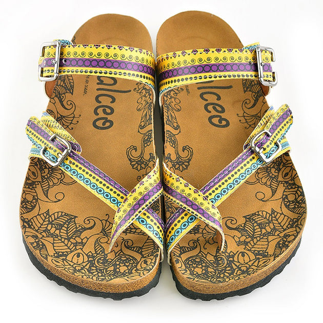 Yellow and Purple, Blue Geometric Bead Design Sandal - CAL1001
