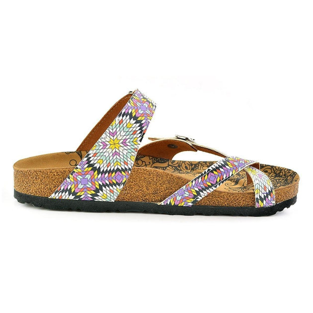 Yellow, Pink, Red Patterned and Square Shaped Sandal - CAL1004