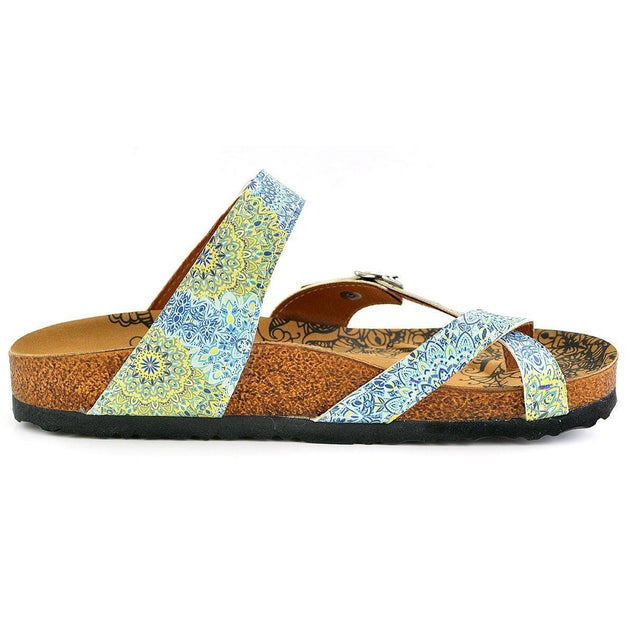 White-Blue and Yellow Flowers, Mixed-Flowered Silver Arched Sandal - CAL1005