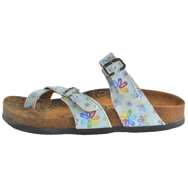 CALCEO Rainbow Flowers and Light Blue Pattern Sandal - CAL1007 Sandal Shoes - Goby Shoes UK