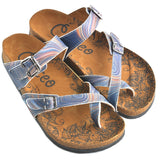 CALCEO Colors and Wavy, Dark Blue Pattern Sandal - CAL1008 Women Sandal Shoes - Goby Shoes UK