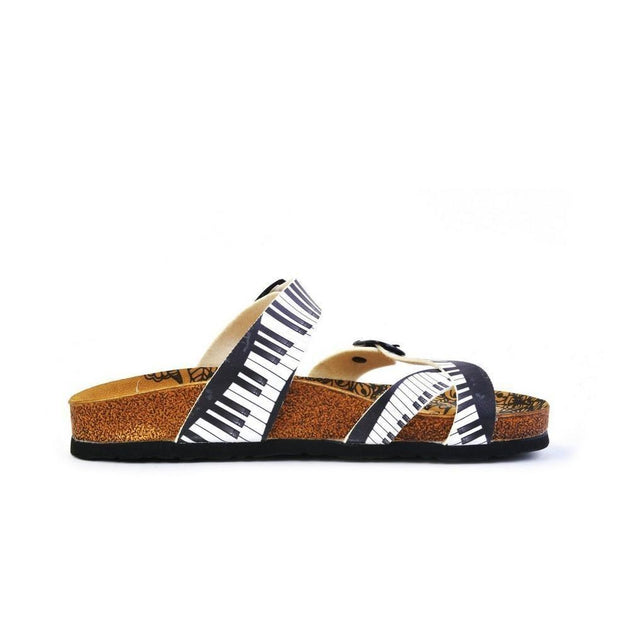 CALCEO Black and White, Piano Pattern Sandal - CAL1010 Women Sandal Shoes - Goby Shoes UK