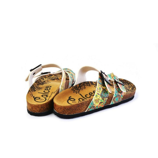 CALCEO Light Blue and Orange, Yellow Drop Patterns Sandal - CAL1011 Women Sandal Shoes - Goby Shoes UK