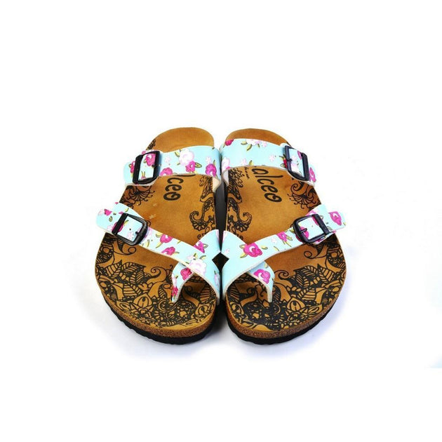 CALCEO Pink and White Flowers, Green Leafy, Light Blue Pattern Sandal - CAL1012 Sandal Shoes - Goby Shoes UK
