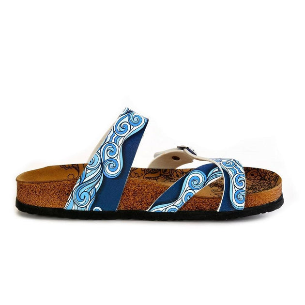 CALCEO Light Blue and White, Sea Wavy Dark Blue Pattern Sandal - CAL1013 Women Sandal Shoes - Goby Shoes UK