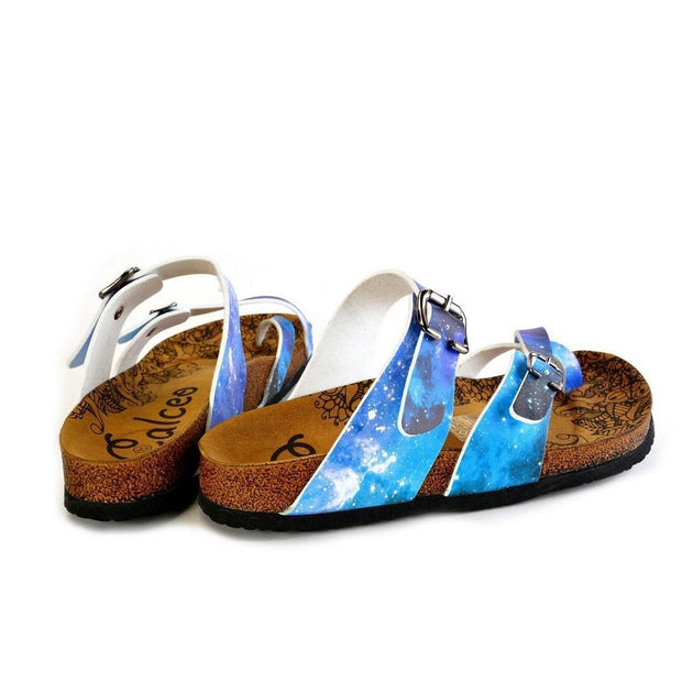 CALCEO Blue, Black, Light Blue Tones and Glittering Sky Pattern Sandal - CAL1014 Women Sandal Shoes - Goby Shoes UK