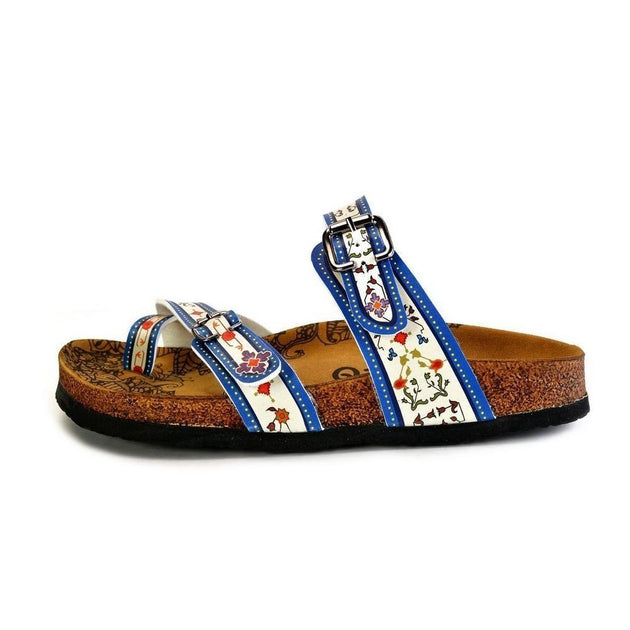 CALCEO Dark Blue, Black and Cream Banded, Mosaic Color Flowers Patterned Sandal - CAL1015 Women Sandal Shoes - Goby Shoes UK