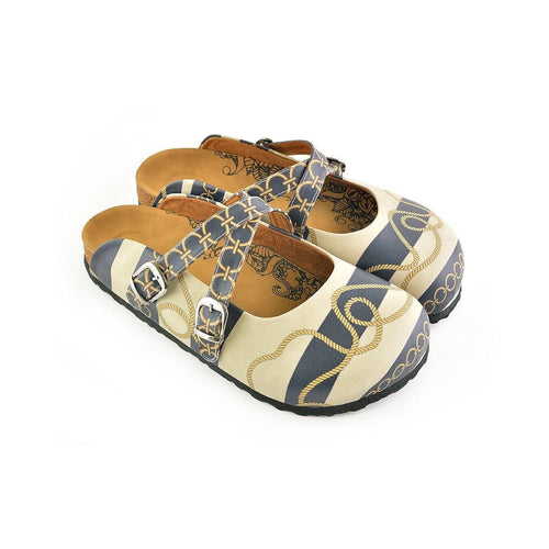 CALCEO Beige and Navy Blue Striped, Gold Cyclic and Rope Pattern Clogs - CAL101 Women Clogs Shoes - Goby Shoes UK