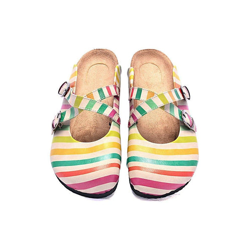 CALCEO Red, Green, Orange and Colored Stripe and Striped Cream Pattern Clogs - CAL102 Clogs Shoes - Goby Shoes UK
