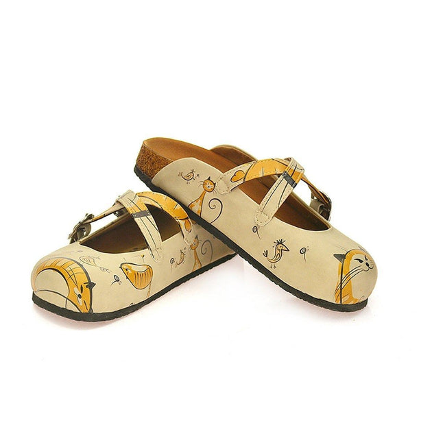 CALCEO Orange and Yellow Colored, Cat and Bird Beige Patterned Clogs - CAL103 Clogs Shoes - Goby Shoes UK