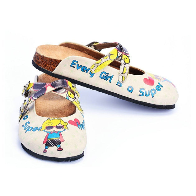 CALCEO Super Hero Girl With Sunglasses and Star, Heart Shaped Clogs - CAL104 Clogs Shoes - Goby Shoes UK