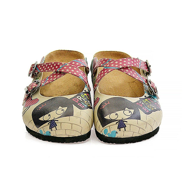CALCEO Red Polkadot and Cute Girl With Heart Patterned Clogs - CAL105 Clogs Shoes - Goby Shoes UK