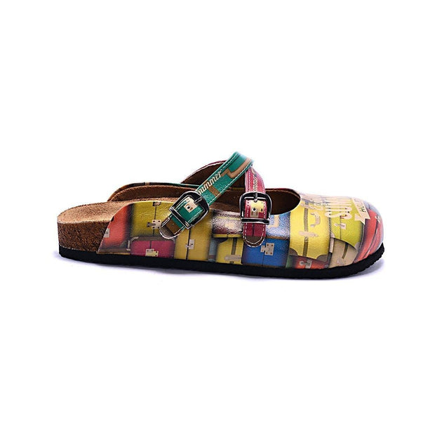 CALCEO Colored Suitcase and Summer Written Patterned Clogs - CAL106 Women Clogs Shoes - Goby Shoes UK