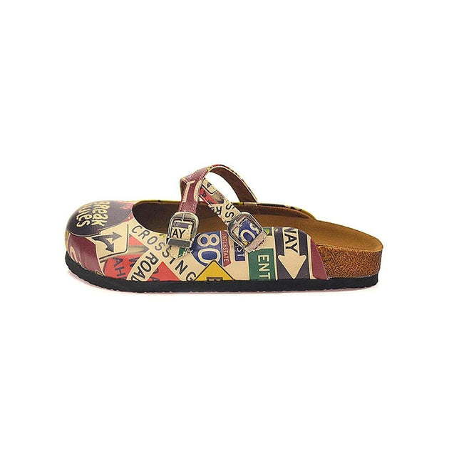 CALCEO Red, Black, Yellow and Break Rules Written Patterned Clogs - CAL107 Clogs Shoes - Goby Shoes UK