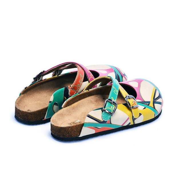 CALCEO Colorful and Moving Shapes, Dance of the Color Written Patterned Clogs - CAL108 Women Clogs Shoes - Goby Shoes UK