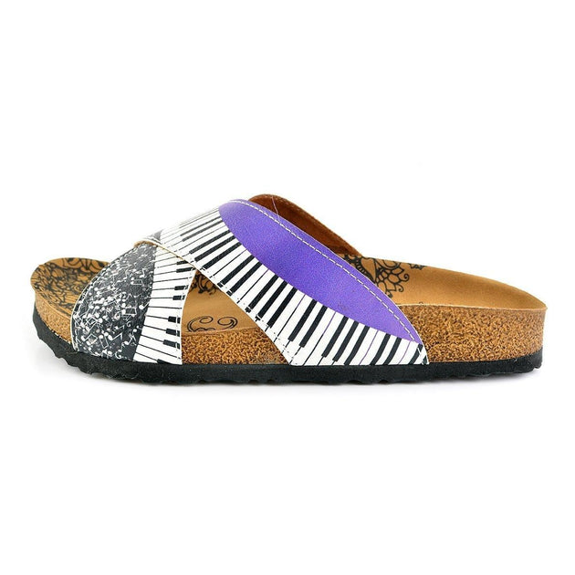 CALCEO Purple, Black and White Musical Notes Piano Patterned Sandal - CAL1102 Sandal Shoes - Goby Shoes UK
