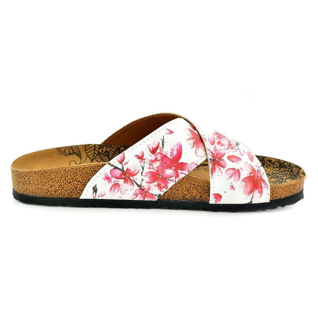 CALCEO Red and White Flowers Watercolor Patterned, Brown Tree Branch Sandal - CAL1103 Sandal Shoes - Goby Shoes UK