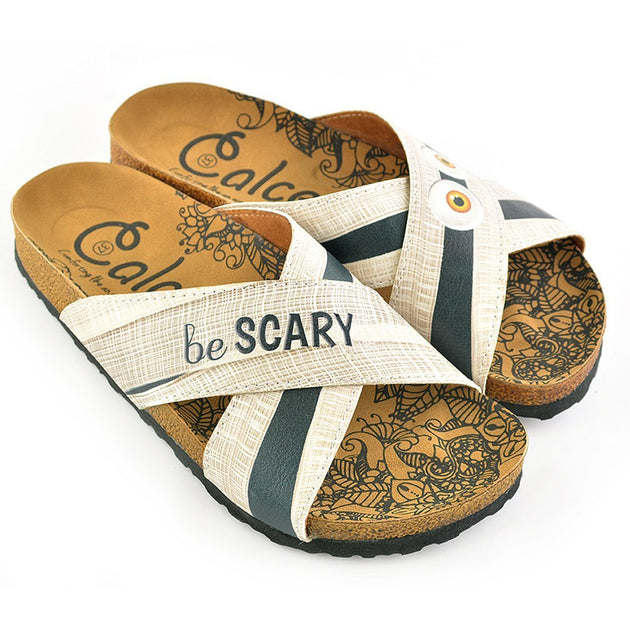 CALCEO Cream and White Stripes, Black Stripes be Scary Written Patterned Sandal - CAL1105 Women Sandal Shoes - Goby Shoes UK