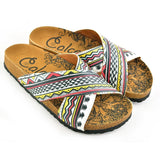 CALCEO Red, Black, Yellow, White Geometric and Pine Tree Shapes Patterned Sandal - CAL1106 Sandal Shoes - Goby Shoes UK