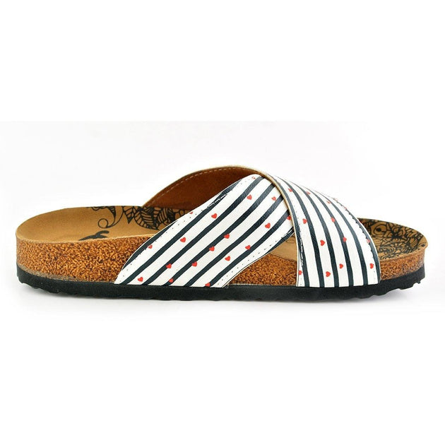 White and Black Stripes and Red Heart, You and Me, Patterned Sandal - CAL1109