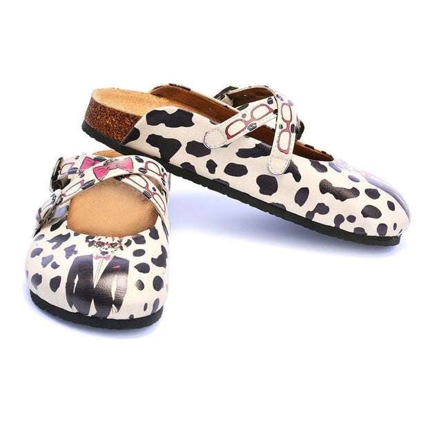 CALCEO Dog With Pink Bow Tie and Glasses Design Clogs - CAL110 Women Clogs Shoes - Goby Shoes UK