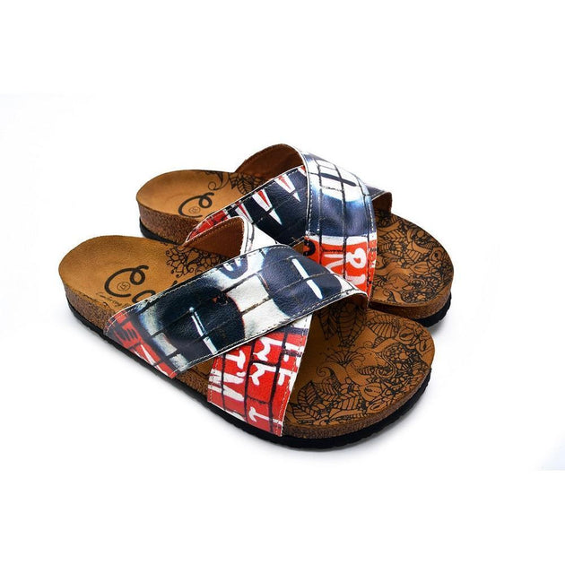 CALCEO Black, Red, White and Wall Decoy Patterned Sandal - CAL1110 Women Sandal Shoes - Goby Shoes UK