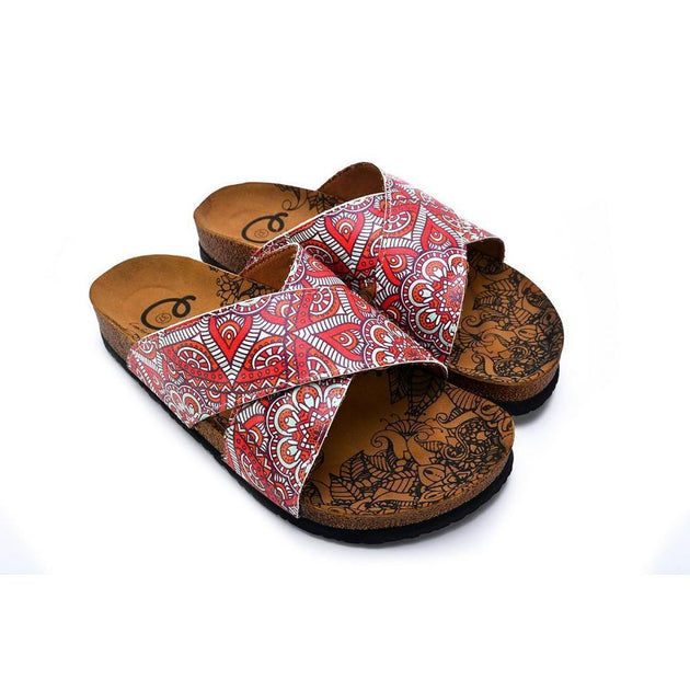 CALCEO Orange, Red, White Flowers Patterned Sandal - CAL1111 Sandal Shoes - Goby Shoes UK