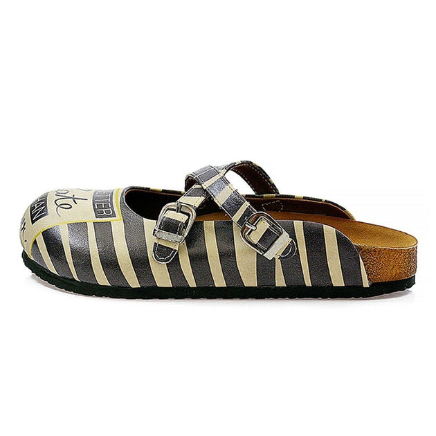 CALCEO Black and Beige, Stripes, Black Better Late Than Never Written Patterned Clogs - CAL111 Women Clogs Shoes - Goby Shoes UK