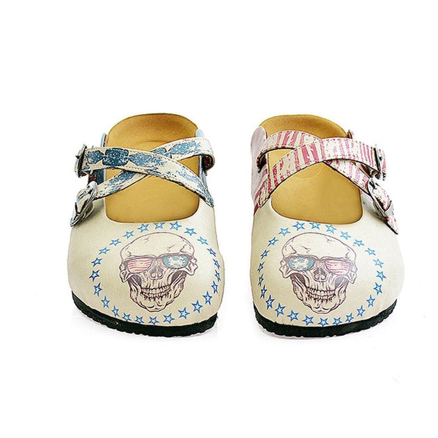 CALCEO Dry Head With Glasses and American Flagged, Blue, Red Patterned Clogs - CAL112 Women Clogs Shoes - Goby Shoes UK