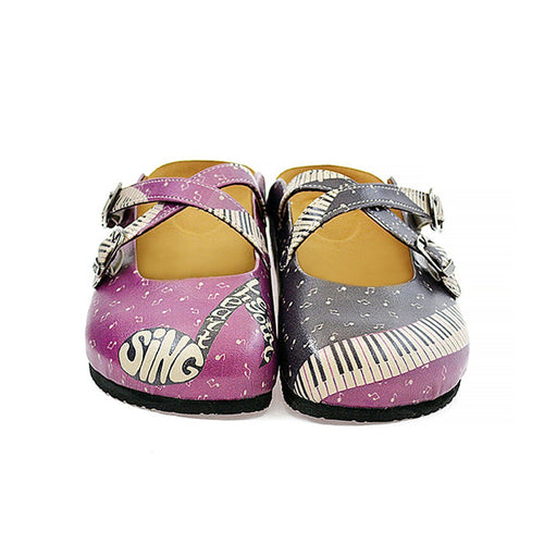 Calceo CAL113 Purple & Black Music Clogs Clogs Shoes - Goby Shoes UK