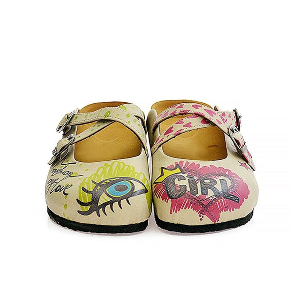 CALCEO Purple, Green, Yellow, Blue Eyes, Purple Heart, Green Round, Girl and Fashion is My Love Written Beige Patterned Clogs - CAL114 Clogs Shoes - Goby Shoes UK