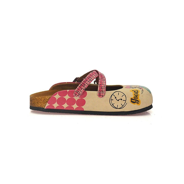 CALCEO Pink Polkadot and Wall Decoy, Nice, Bad, Evil Written Girls Patterned Clogs - CAL117 Clogs Shoes - Goby Shoes UK