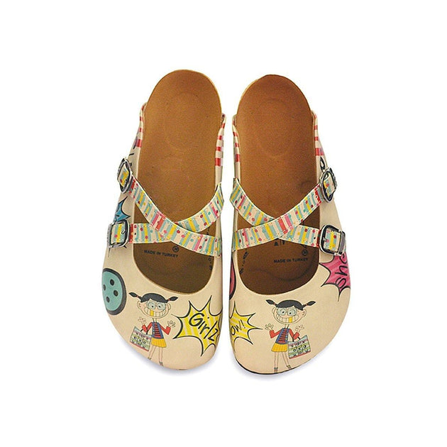 CALCEO Colored Polkadot and Lines, Girlz and Wow Written Patterned Clogs - CAL118 Women Clogs Shoes - Goby Shoes UK
