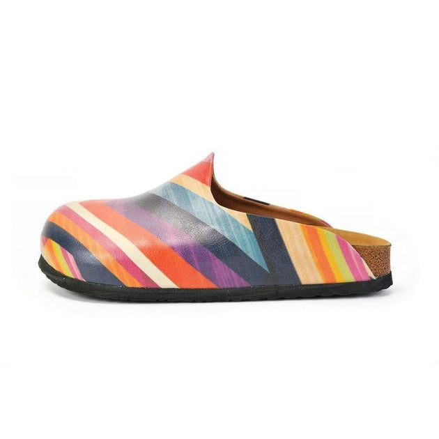 CALCEO Orange, Pink and Chevron, Colored Patterned Clogs - CAL1401 Clogs Shoes - Goby Shoes UK