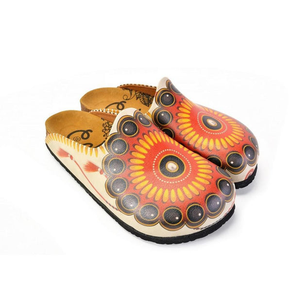 CALCEO Red, Orange, Black, Yellow and Bead Pattern Clogs - CAL1402 Clogs Shoes - Goby Shoes UK