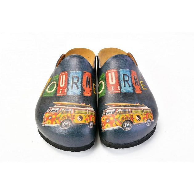 CALCEO Colored and Flowers Bus, Journey Written Black Patterned Clogs - CAL1403 Women Clogs Shoes - Goby Shoes UK