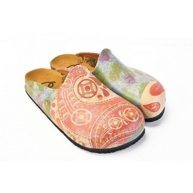 CALCEO Red Geometric Patterned and Colored Watercolor and Red Water Drops Patterned Clogs - CAL1405 Clogs Shoes - Goby Shoes UK