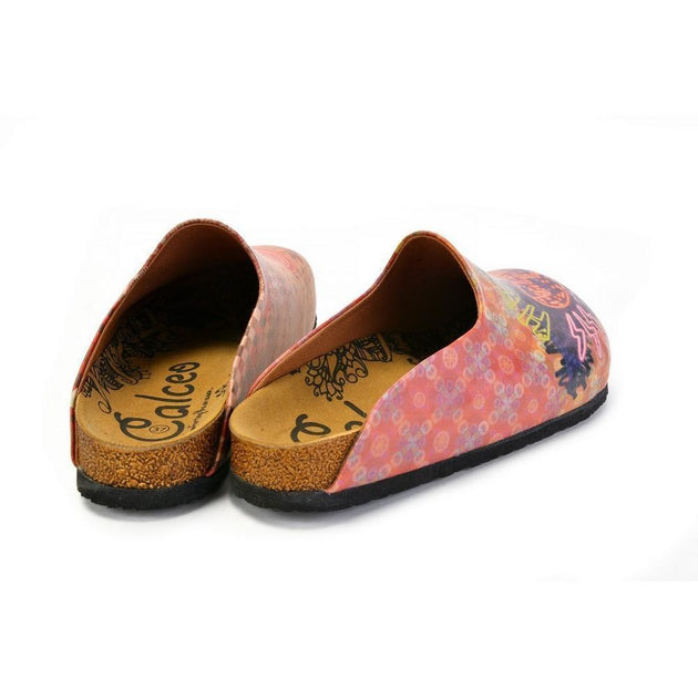 CALCEO Phosphorus Heart Broken Written, Pink and Purple Love Patternerd Clogs - CAL1407 Clogs Shoes - Goby Shoes UK
