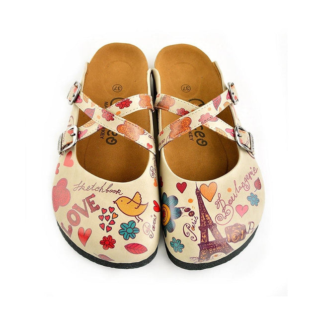 CALCEO Colored Flowers and Yellow Bird, Eiffel Tower Patterned Clogs - CAL144 Women Clogs Shoes - Goby Shoes UK