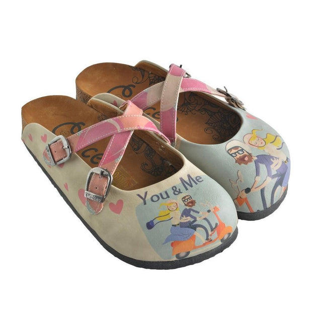 CALCEO Blue, Pink, You and Me Written, Men and Women Patterned Clogs - CAL147 Women Clogs Shoes - Goby Shoes UK
