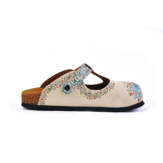 CALCEO Blue and Purple Colored Mixed Flowers Patterned Clogs - CAL1501 Women Clogs Shoes - Goby Shoes UK