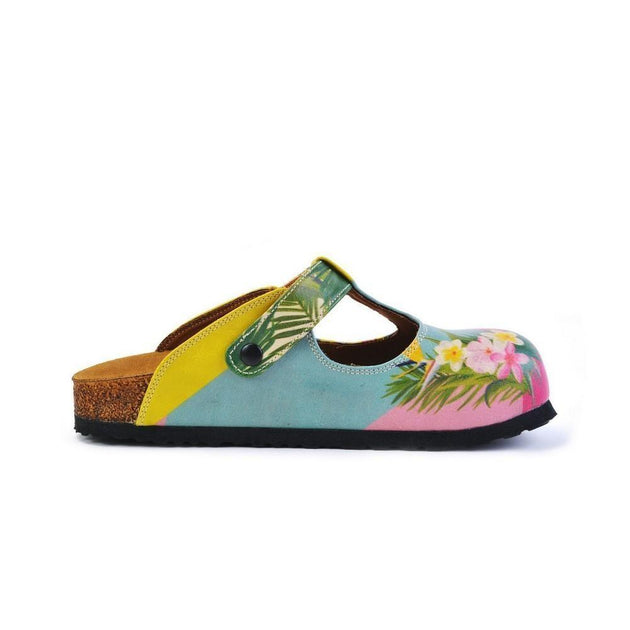 CALCEO Pink, Light Blue, Yellow and Tropical Flowers Patterned Clogs - CAL1502 Clogs Shoes - Goby Shoes UK