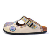 Calceo CAL1503 Blue & Beige Pattern Clogs Women Clogs Shoes - Goby Shoes UK