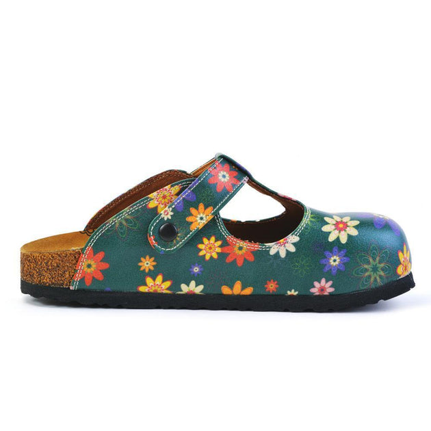 CALCEO Green and Colored Mixed Flowers Patterned Clogs - CAL1504 Women Clogs Shoes - Goby Shoes UK