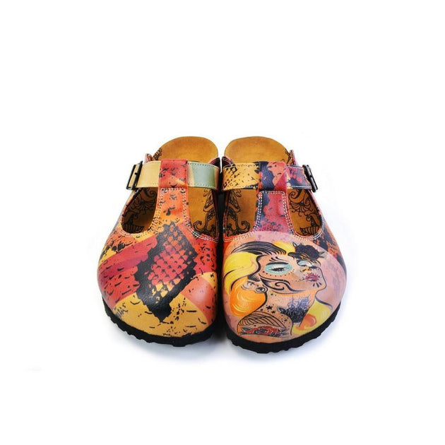 CALCEO Pink, Red, Yellow Mixed Black Patterned Abstract Women Patterned Clogs - CAL1506 Clogs Shoes - Goby Shoes UK