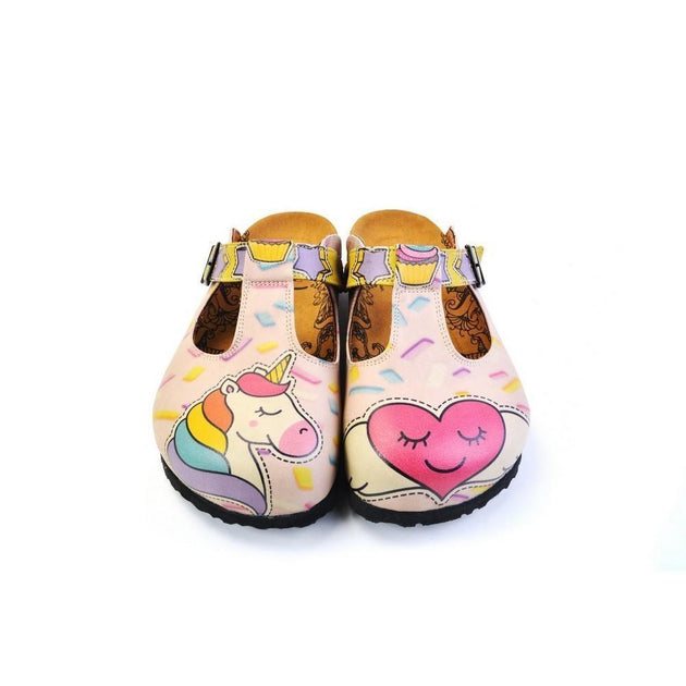 CALCEO Pink Candy and Pink Unicorn, Pink Heart Patterned Clogs - CAL1507 Clogs Shoes - Goby Shoes UK