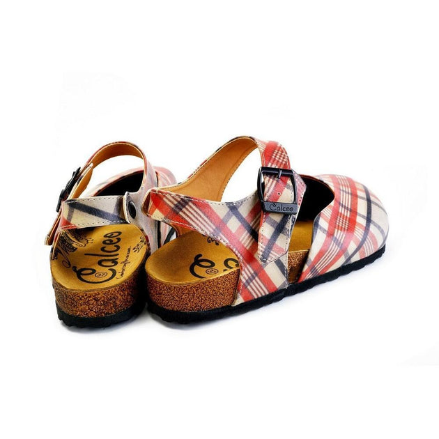 CALCEO Red, Beige, Black Lines and Red Rose Patterned Clogs - CAL1601 Clogs Shoes - Goby Shoes UK
