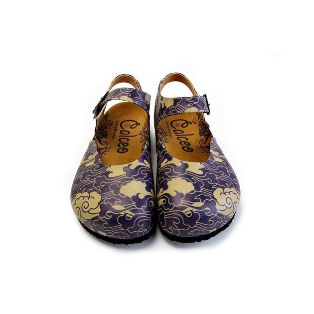 CALCEO Dark Blue and Cream Windy Clouds Patterned Clogs - CAL1602 Women Clogs Shoes - Goby Shoes UK